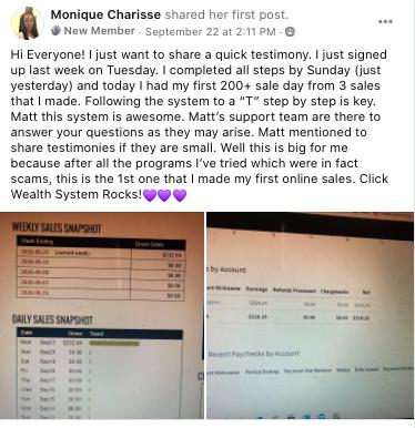 Monrique Charisse's testimony of ClickWealth